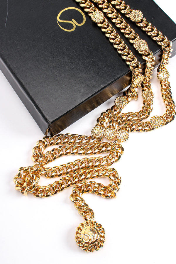 Vintage St John Chunky Triple-Strand Chain Belt II in box at Recess Los Angeles