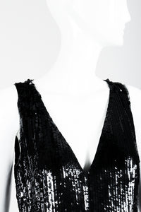 St. John Black Liquid Sequin Jumpsuit on Mannequin neckline at Recess Los Angeles