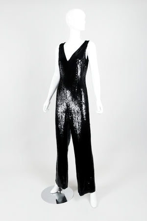 St. John Black Liquid Sequin Jumpsuit on Mannequin front angle at Recess Los Angeles
