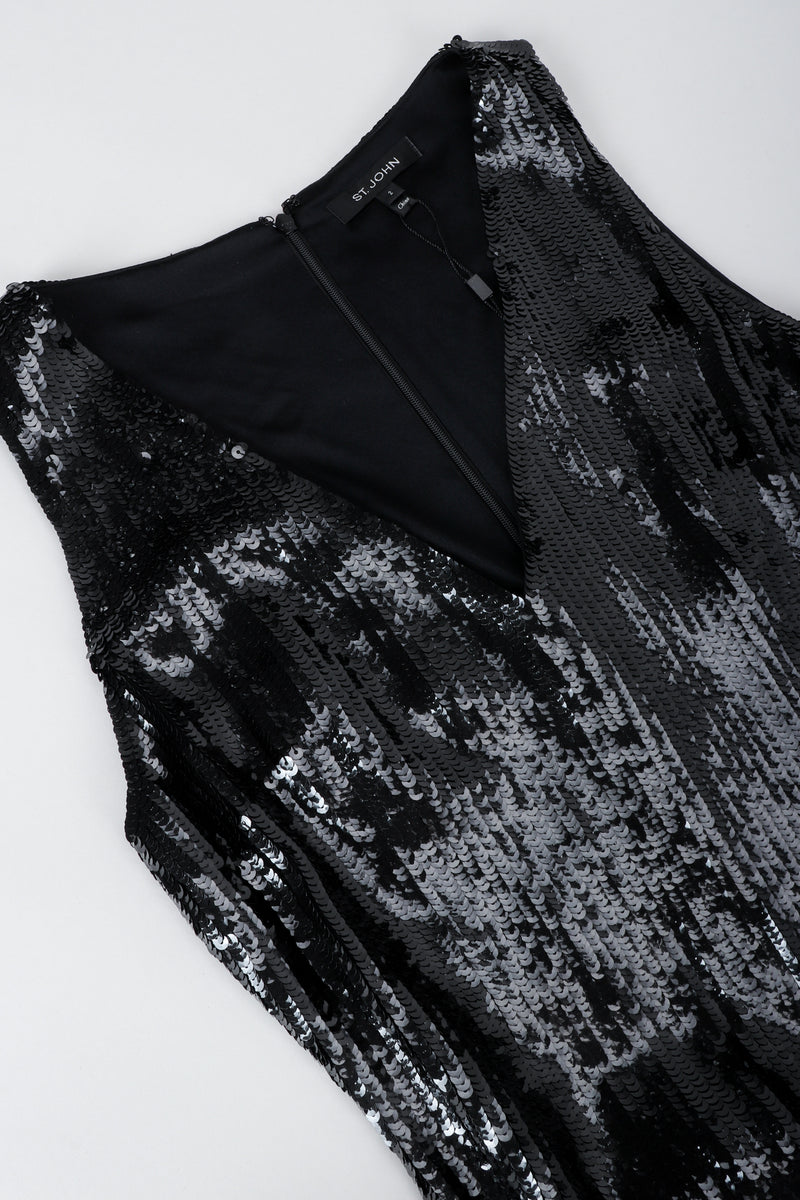 St. John Black Liquid Sequin Jumpsuit neckline at Recess Los Angeles