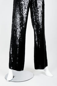 St. John Black Liquid Sequin Jumpsuit legs on Mannequin at Recess Los Angeles