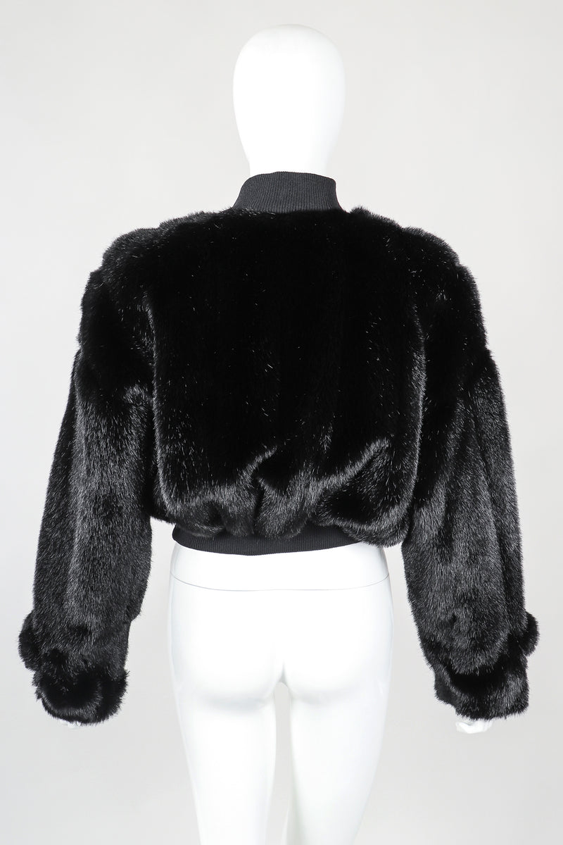 Recess Vintage St. John cropped black faux fur bomber jacket on mannnequin, Back