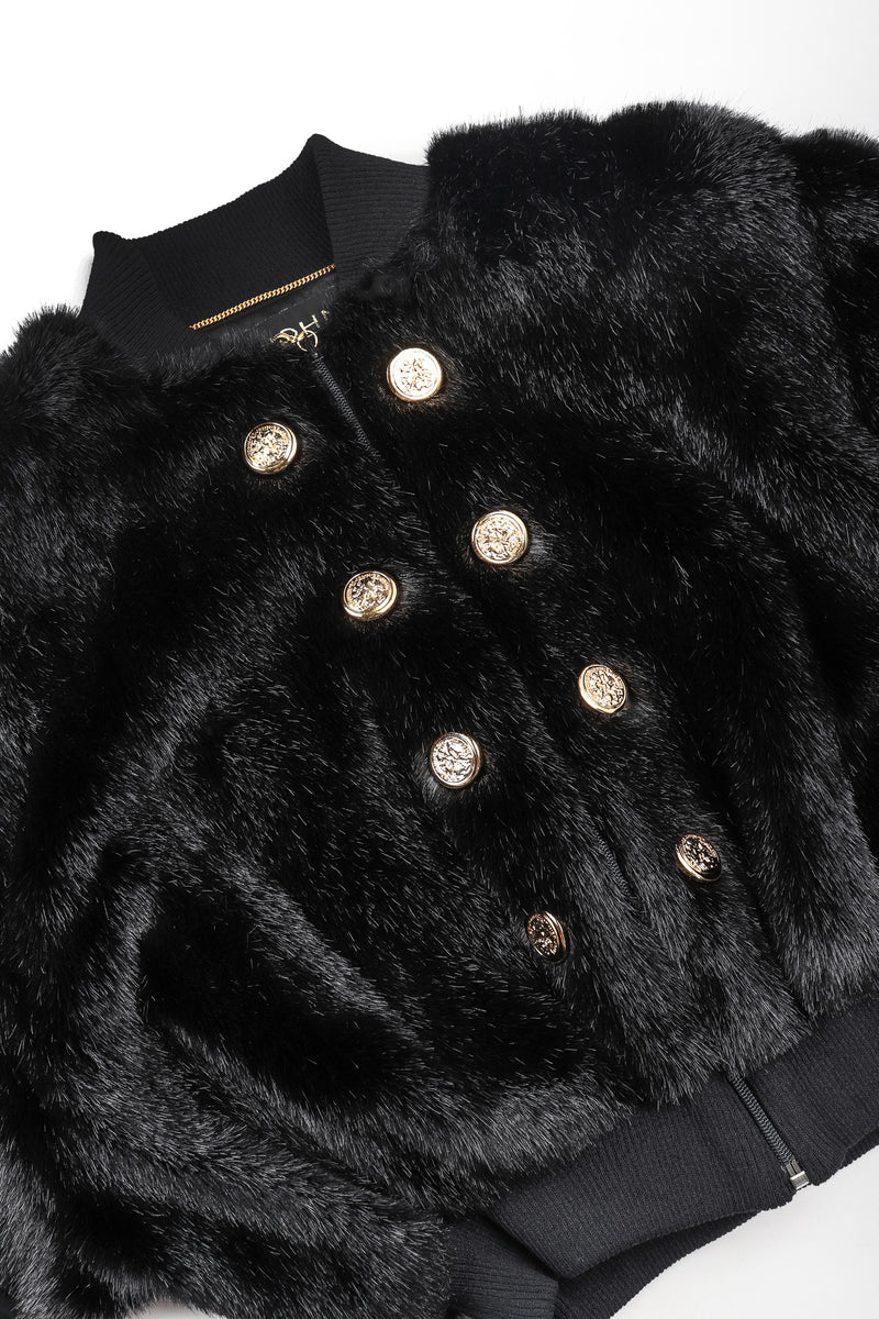 Recess Vintage St. John black faux fur bomber jacket, front button detail