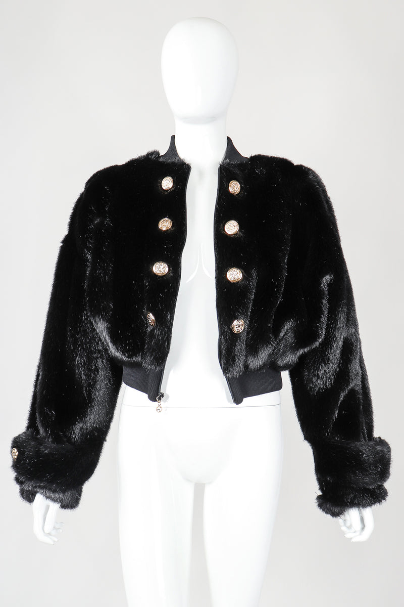 Recess Vintage St. John black faux fur bomber jacket on mannnequin, unbuttoned