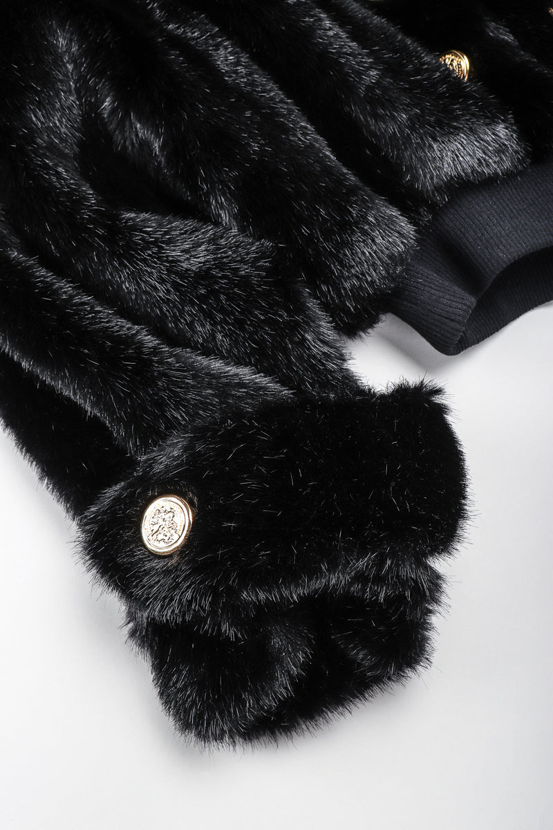 Recess Vintage St. John black faux fur bomber jacket, sleeve detail