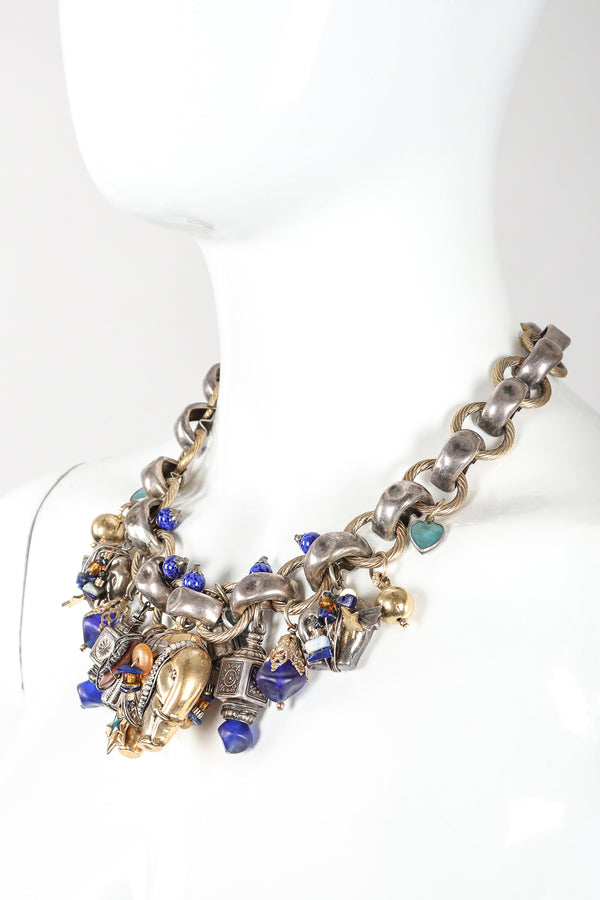 Recess Vintage Gas Bijoux Silver Elephant Charm Necklace On Mannequin Neck Side View