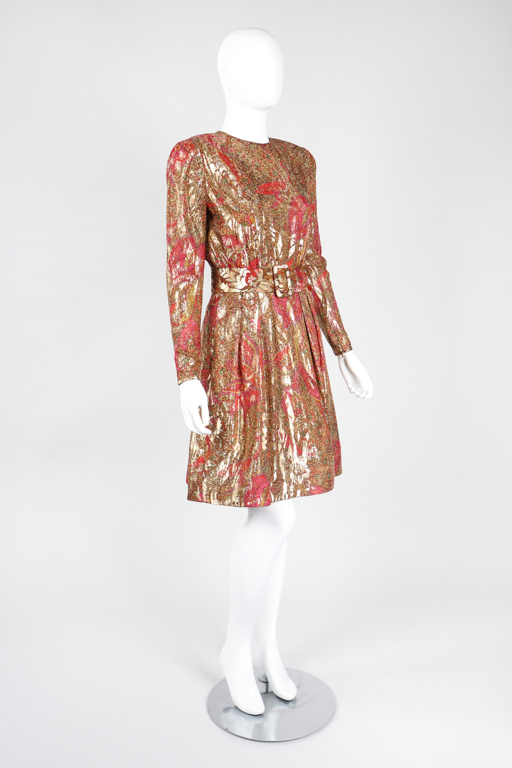 Recess Los Angeles Vintage Stanley Platos Martin Ross Metallic Paisley Lamé Cocktail Dress