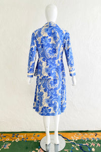 Vintage Star of Siam Silk Floral Jacket & Skirt Set on Mannequin Back at Recess Los Angeles
