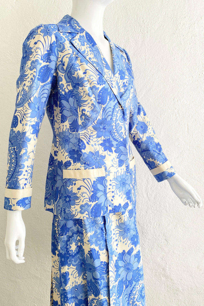 Vintage Star of Siam Silk Floral Jacket & Skirt Set on Mannequin Angle Crop at Recess Los Angeles