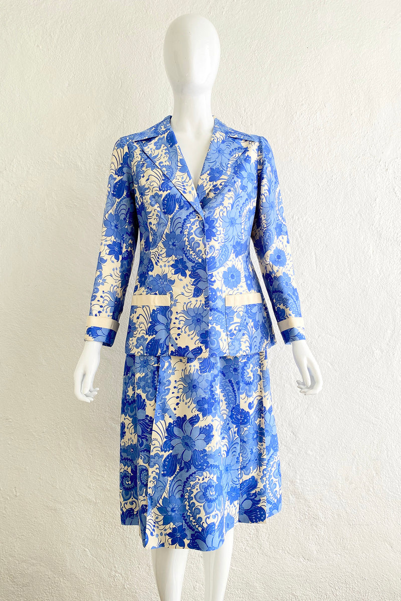 Vintage Star of Siam Silk Floral Jacket & Skirt Set on Mannequin front at Recess Los Angeles