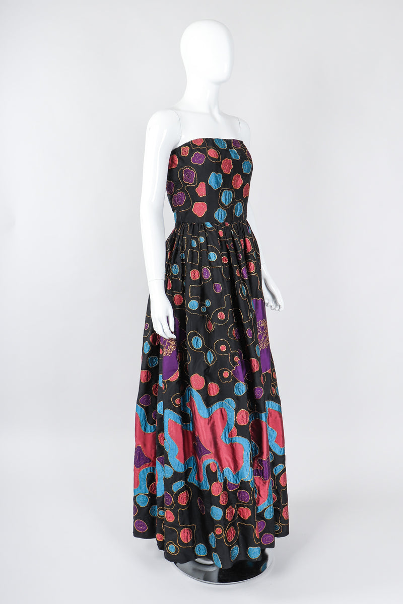 Recess Los Angeles Vintage Star of Siam Strapless Silk Applique Pop Art Gown