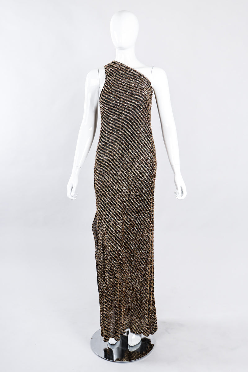 Recess Los Angeles Vintage Stephen Burrows Gold Lamé Stripe Asymmetrical One-Shoulder Gown