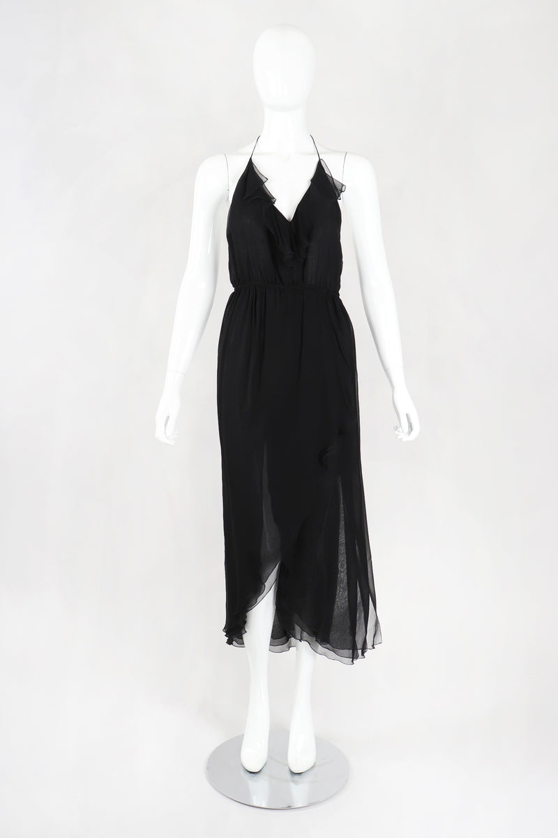Recess Los Angeles Designer Consignment Resale Recycled Vintage Stephen Burrows Silk Chiffon Halter Cocktail Dress