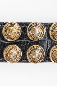 Vintage Streets Ahead Medusa Leather Pin Belt detail at Recess Los Angeles