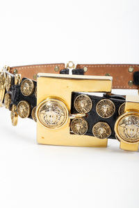 Vintage Streets Ahead Medusa Leather Pin Belt buckle detail at Recess Los Angeles