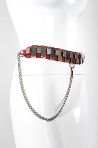 Recess Los Angeles Vintage Unsigned Leather Collar Harness Hardware Chain Belt