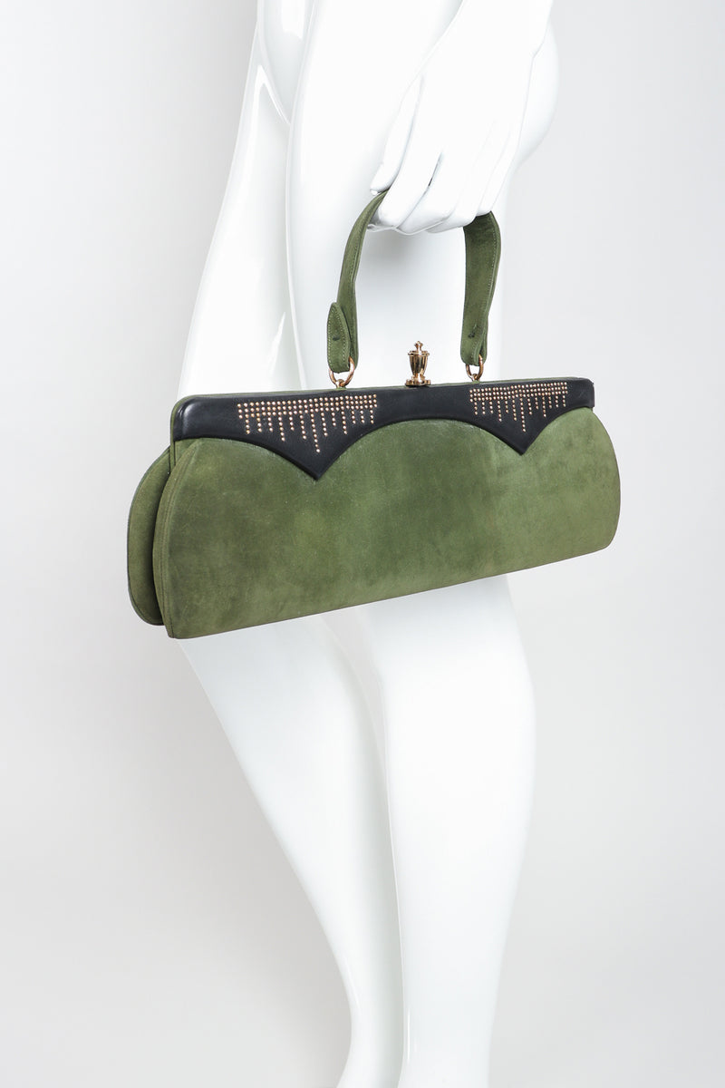Recess Designer Consignment Vintage Style By Art Holzman Studded Suede Baguette Bag Los Angeles Resale
