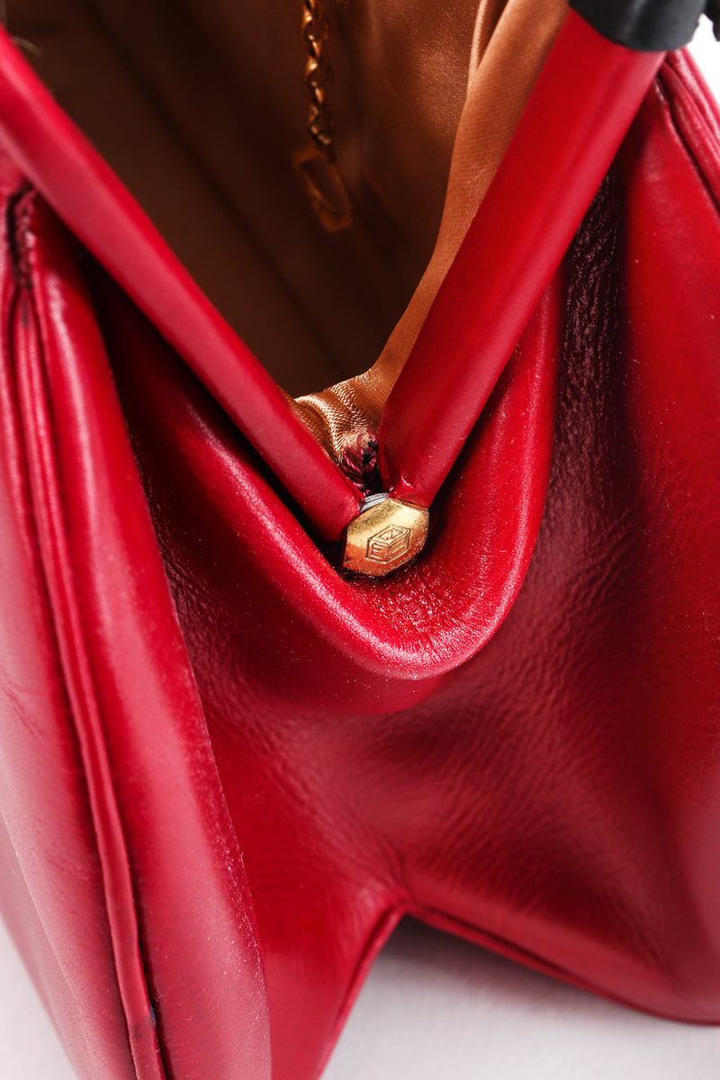 Recess Designer Consignment Vintage Style By Art Holzman Studded Red Leather Baguette Bag Los Angeles Resale