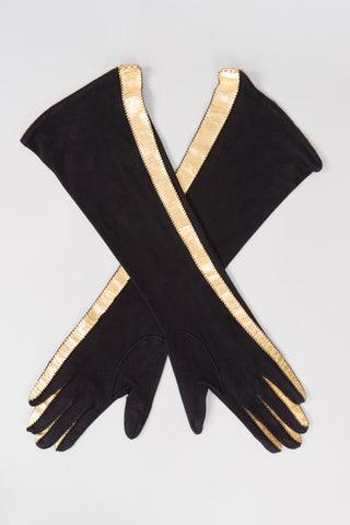 Vintage Gold Stripe Suede Leather Gloves