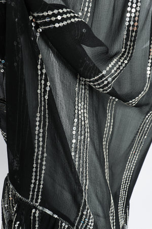 Vintage Sweelo Sheer Sequined Chiffon Midi Dress fabric detail at Recess Los Angeles
