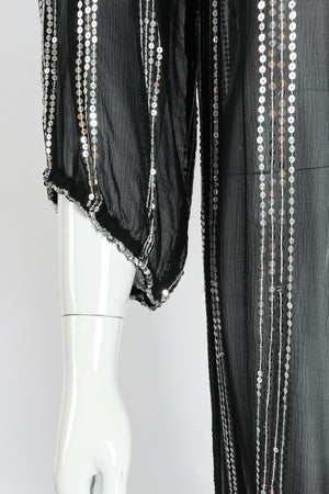 Vintage Sweelo Sheer Sequined Chiffon Midi Dress sleeve garter at Recess Los Angeles