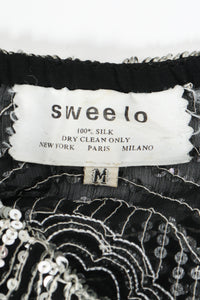 Vintage Sweelo Sheer Sequined Chiffon Midi Dress label at Recess Los Angeles
