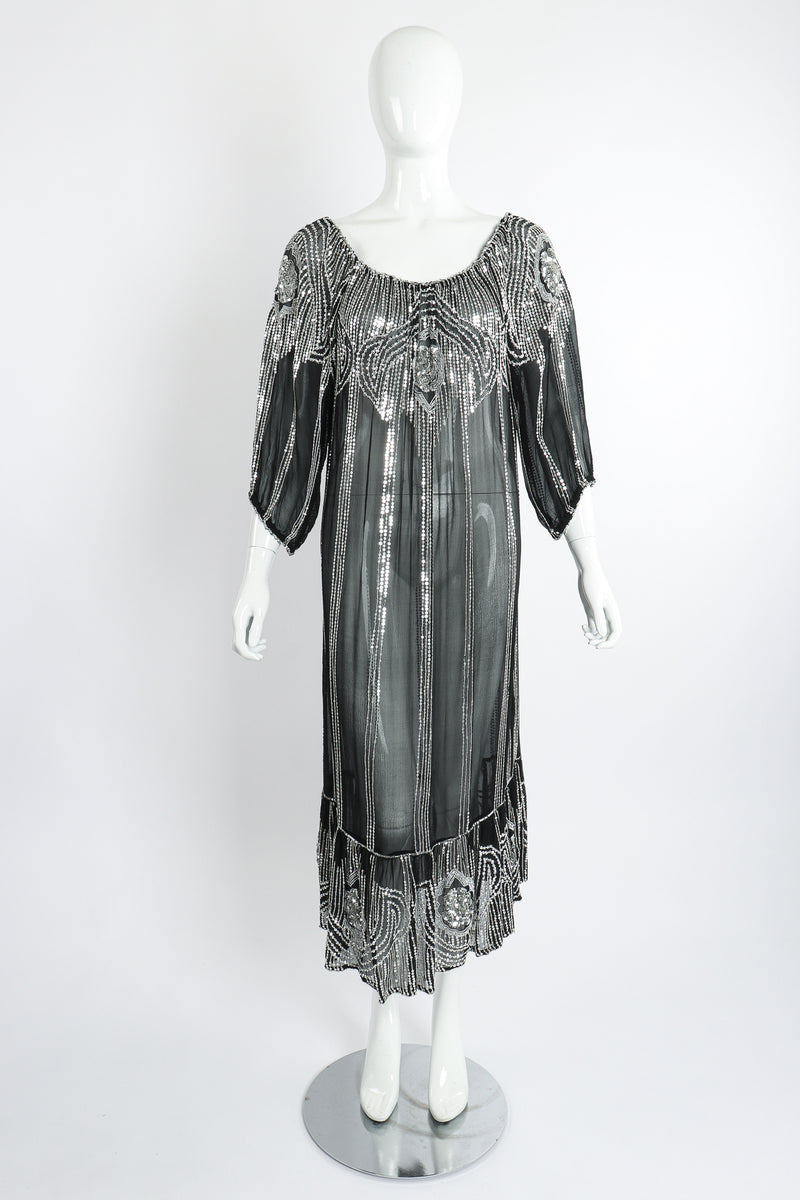 Vintage Sweelo Sheer Sequined Chiffon Midi Dress on Mannequin front at Recess Los Angeles