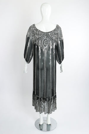 Vintage Sweelo Sheer Sequined Chiffon Midi Dress on Mannequin back at Recess Los Angeles