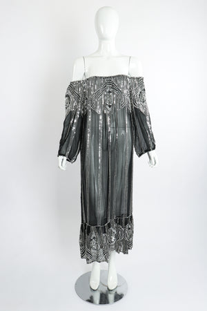 Vintage Sweelo Sheer Sequined Chiffon Midi Dress on Mannequin front ots at Recess Los Angeles