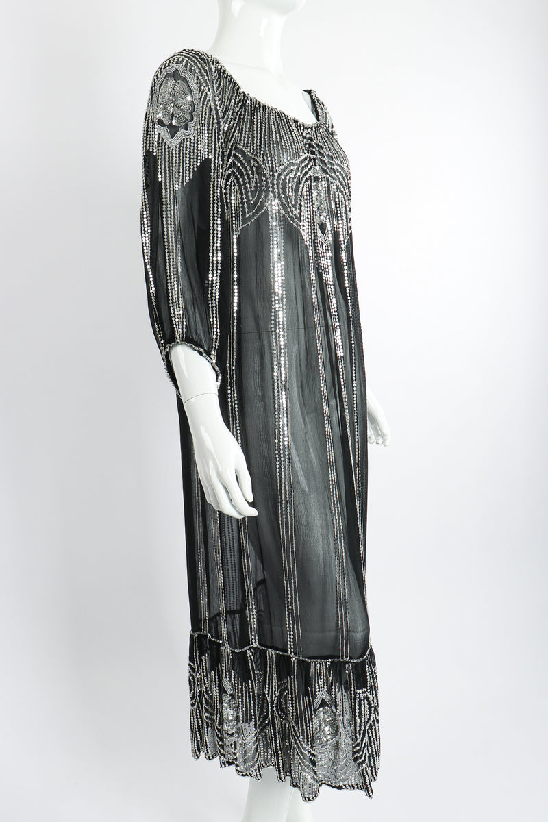 Vintage Sweelo Sheer Sequined Chiffon Midi Dress on Mannequin angle at Recess Los Angeles