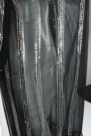 Vintage Sweelo Sheer Sequined Chiffon Midi Dress on Mannequin fabric at Recess Los Angeles