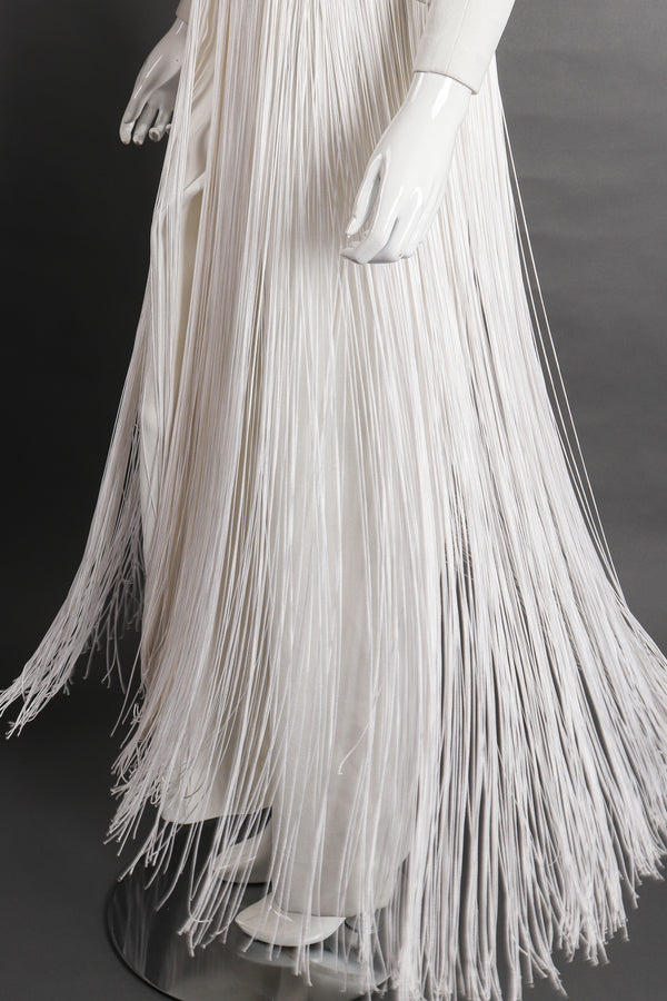 Vintage Sydney North Long Fringe Wedding Bridal Jumpsuit On Mannequin fringe at Recess Los Angeles