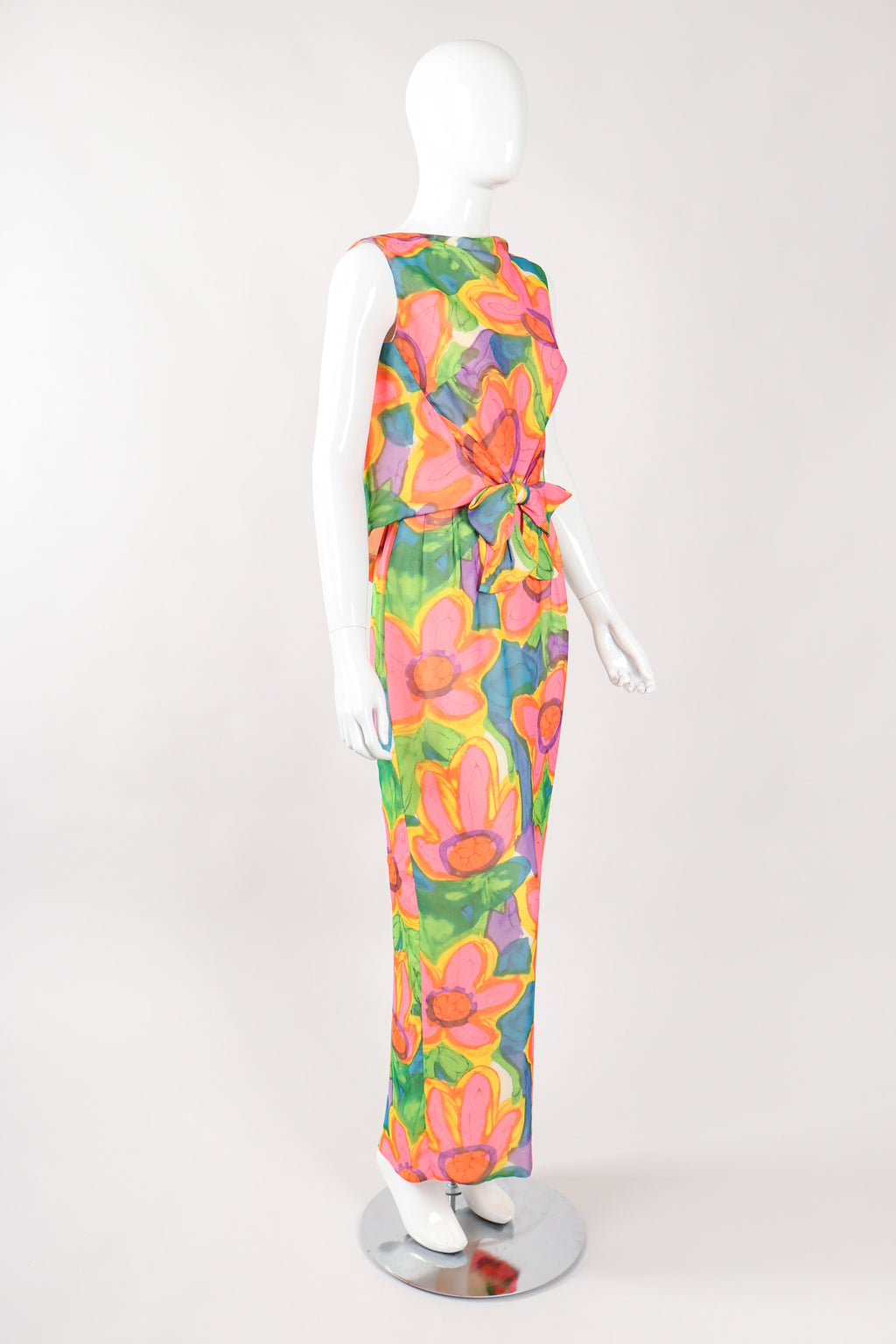 Recess Los Angeles Vintage Sylvia Agins Hot Watercolor Floral Tie Waist Silk Dress
