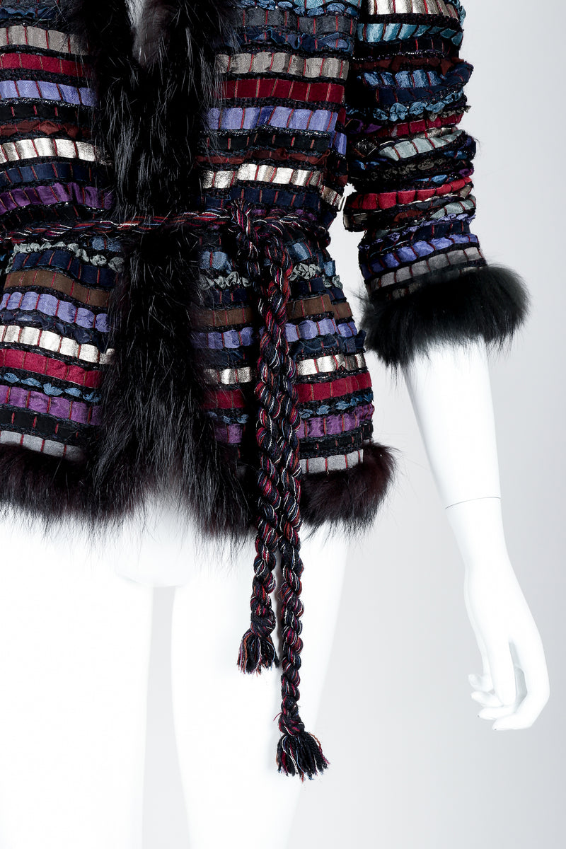 Vintage Talk Of The Walk Woven Leather Suede Silk Ribbon Jacket on Mannequin belt at Recess