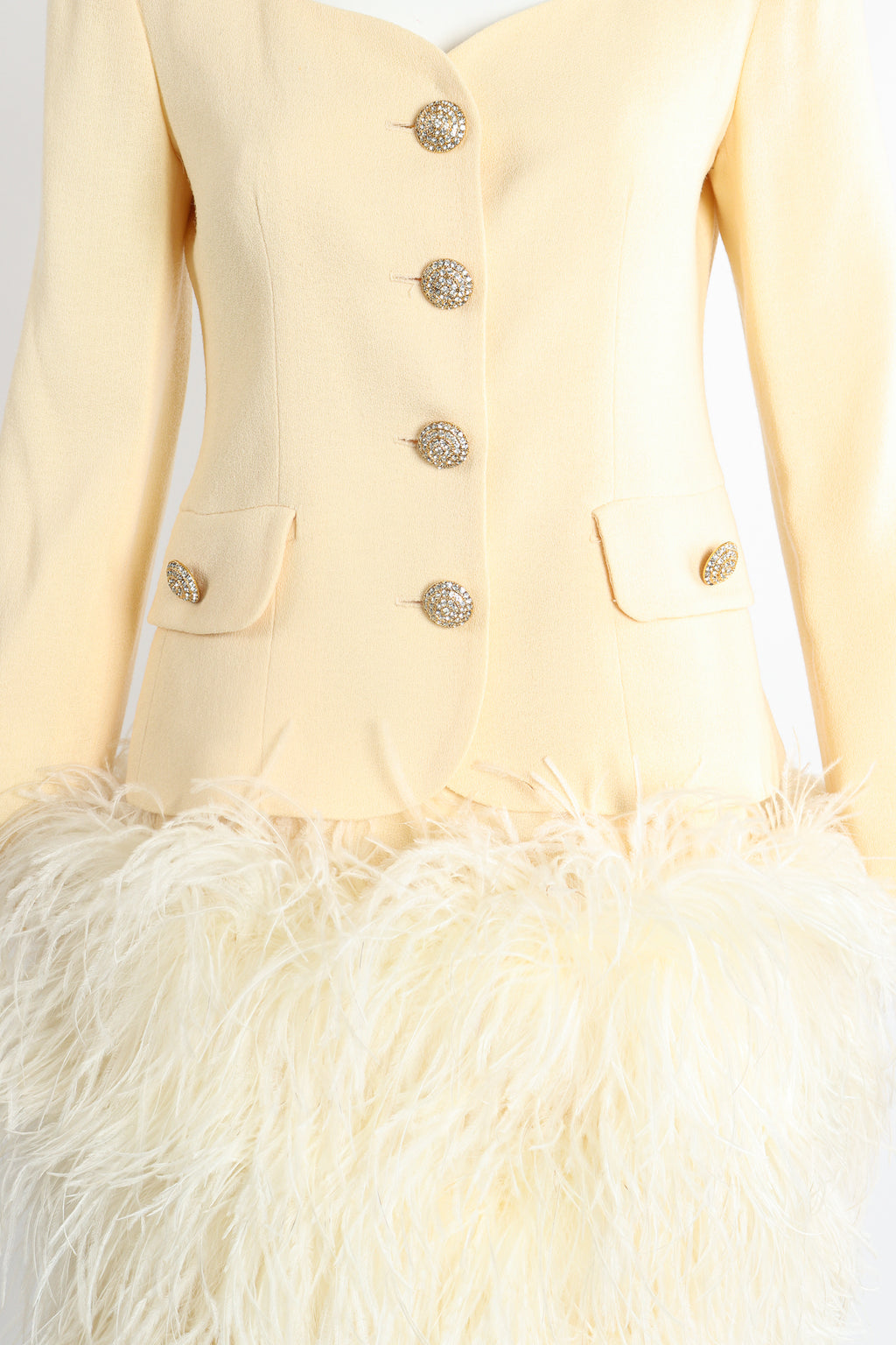 Vintage Teri Jon Wedding bridal Ostrich Pouf Jacket & Skirt Set on Mannequin Front Crop @ Recess LA