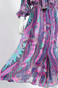 Vintage Silk Farm Sheer Paisley Blouse & Skirt Set on Mannequin skirt at Recess Los Angeles