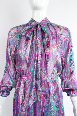 Vintage Silk Farm Sheer Paisley Blouse & Skirt Set on Mannequin crop at Recess Los Angeles