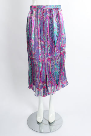 Vintage Silk Farm Sheer Paisley Skirt Set front at Recess Los Angeles