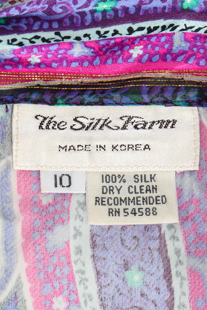 Vintage Silk Farm Sheer Paisley Blouse & Skirt Set label at Recess Los Angeles