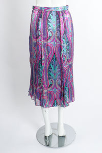 Vintage Silk Farm Sheer Paisley Skirt Set back at Recess Los Angeles