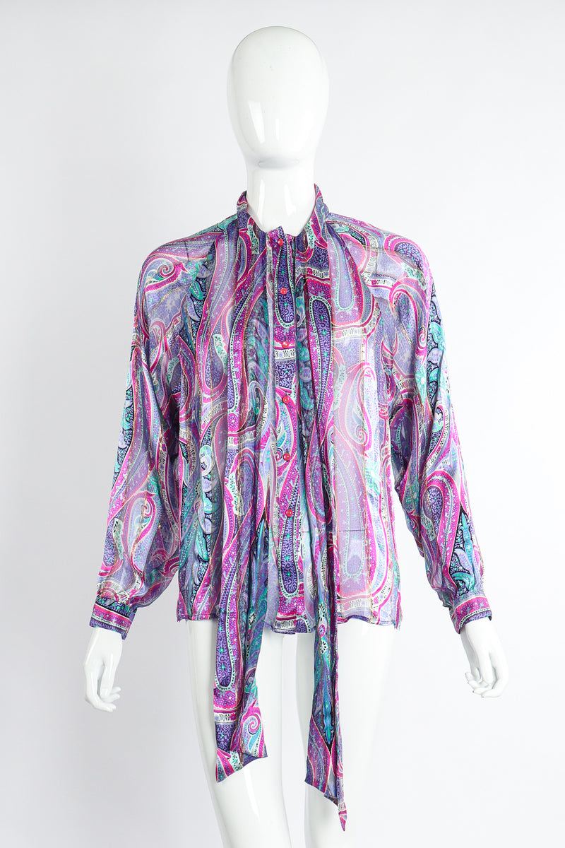Vintage Silk Farm Sheer Paisley Blouse Set front at Recess Los Angeles