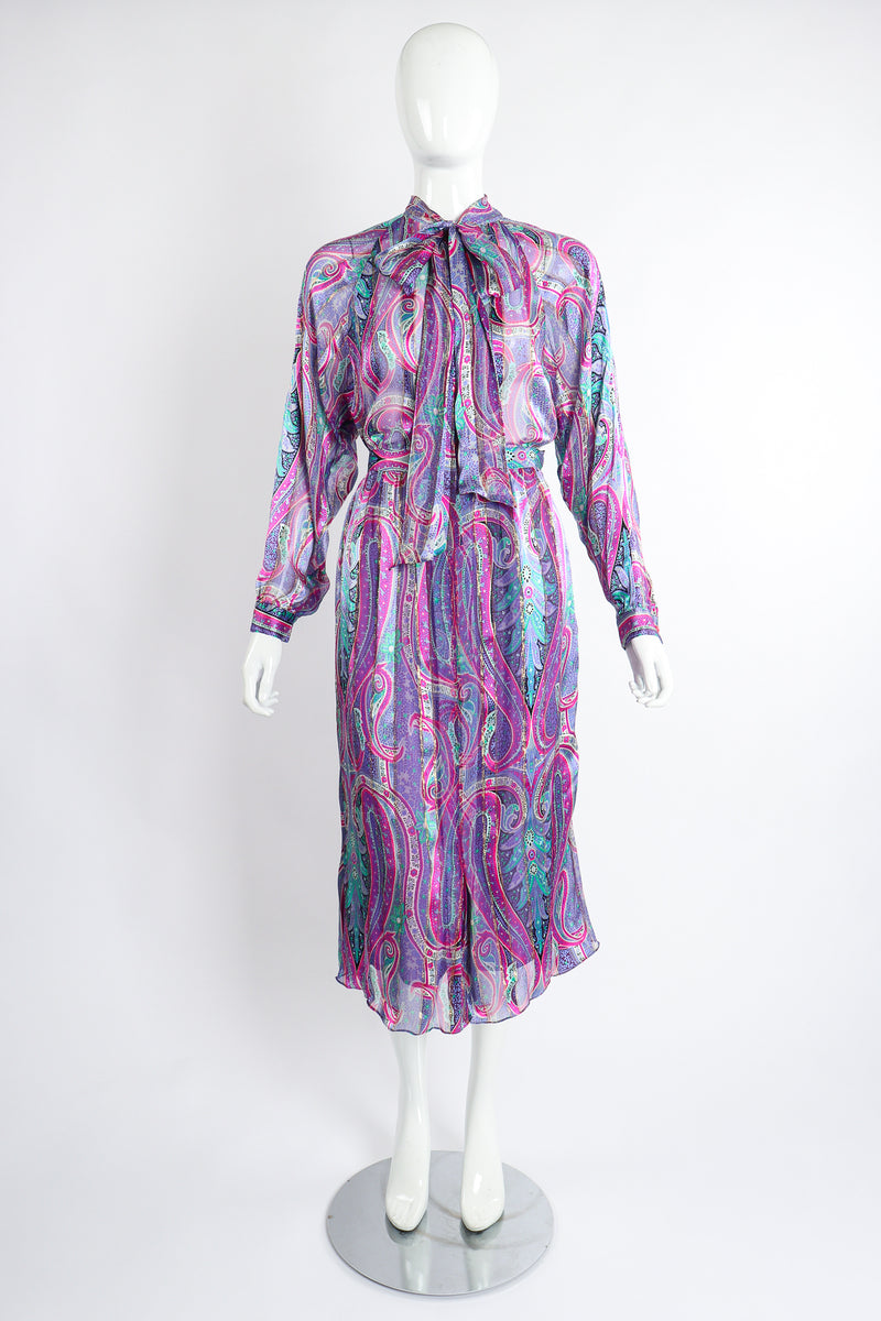 Vintage Silk Farm Sheer Paisley Blouse & Skirt Set on Mannequin front at Recess Los Angeles