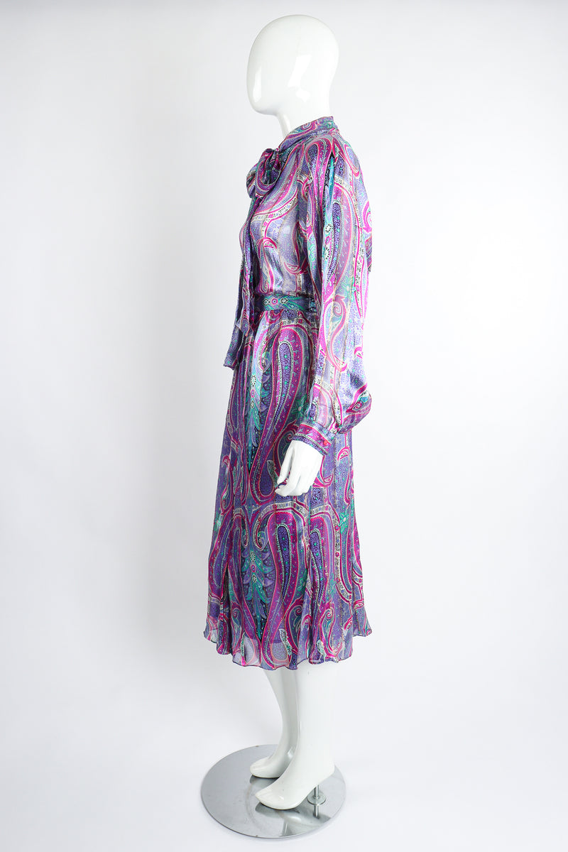 Vintage Silk Farm Sheer Paisley Blouse & Skirt Set on Mannequin side at Recess Los Angeles