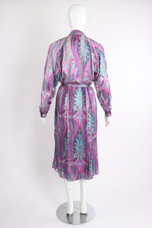Vintage Silk Farm Sheer Paisley Blouse & Skirt Set on Mannequin back at Recess Los Angeles