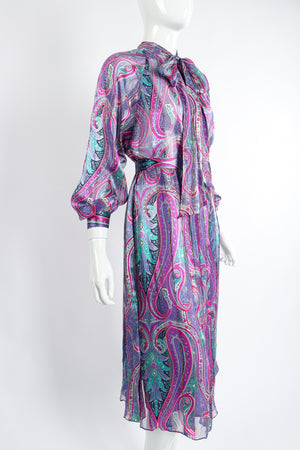 Vintage Silk Farm Sheer Paisley Blouse & Skirt Set on Mannequin angle at Recess Los Angeles