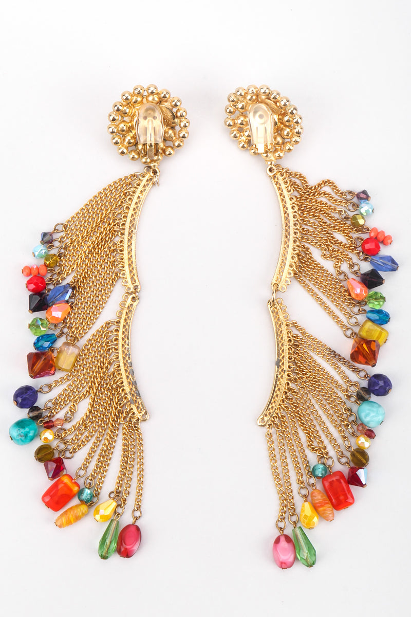 Recess Los Angeles David Mandel The Show Must Go On XL Rainbow Beaded Fringe Waterfall Dangle Earring