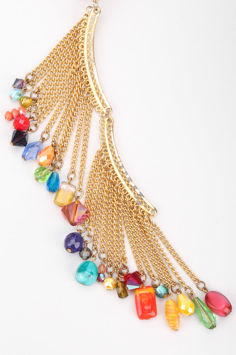 Recess Los Angeles Vintage David Mandel The Show Must Go On XL Rainbow Beaded Fringe Waterfall Dangle Earring