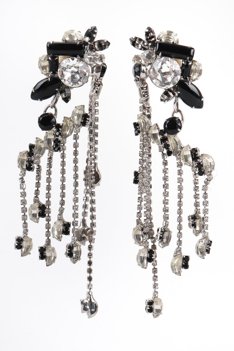 Recess Los Angeles Vintage David Mandel The Show Must Go On Crystal Waterfall Fringe Chandelier Drop Earrings