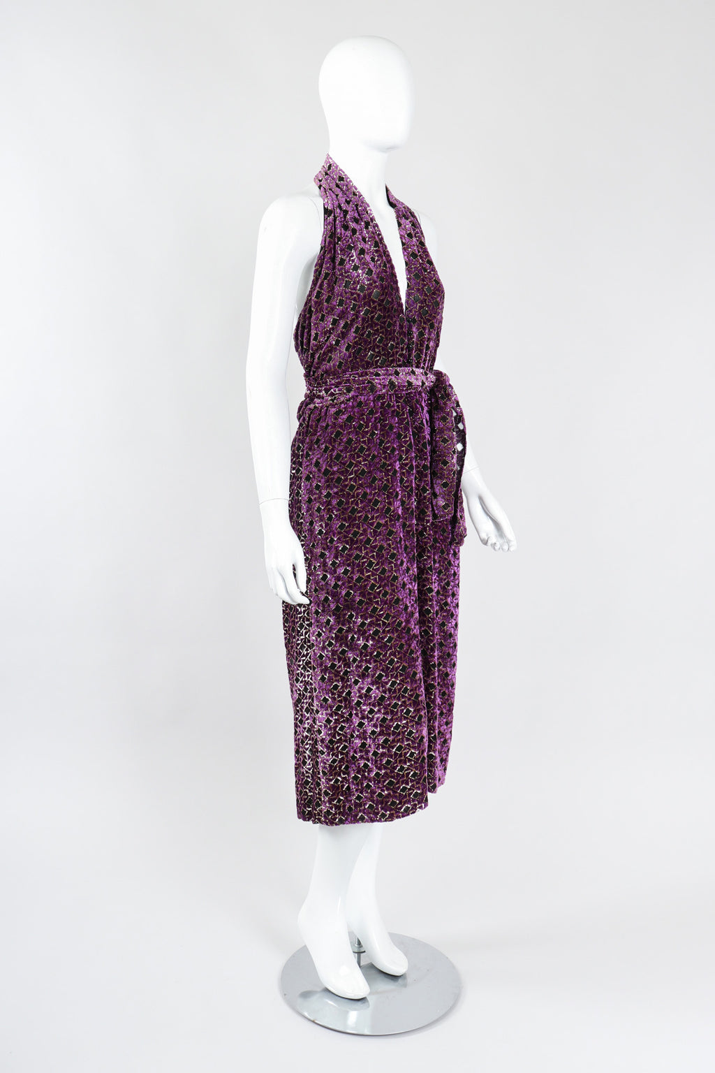 Recess Los Angeles Vintage The Silk Farm Velvet Lamé Burnout Lattice Halter Moroccan Tile Dress