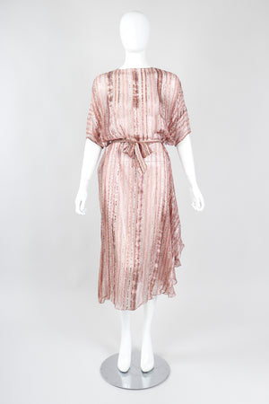 Recess Los Angeles Vintage The Silk Farm Sheer Striped Dolman Sleeve Dress
